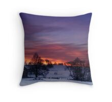 Farmstead in the evening Throw Pillow