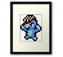 Pokemon 8-Bit Pixel Machop 066 Framed Print