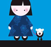 Chinese girl and her little dog by Christa de Groot