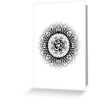 Ohm Mandala Black Greeting Card