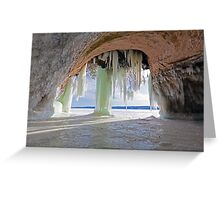 Cave and Ice Curtains on Grand Island near Munising Michigan Greeting Card