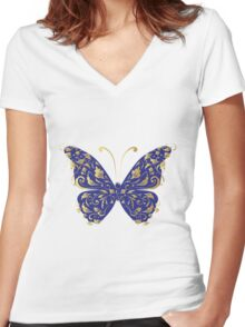 Butterfly, ornate Women's Fitted V-Neck T-Shirt