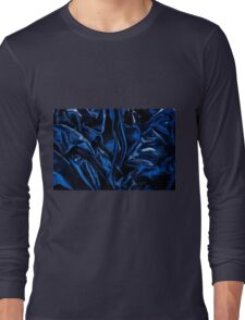 Navy blue glossy crumpled satin Long Sleeve T-Shirt