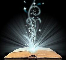 Open book magic on black by Kudryashka