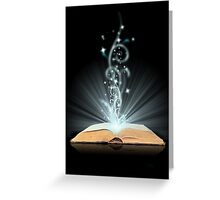 Open book magic on black Greeting Card