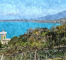 Agropoli: landscape with sea and tower by Giuseppe Cocco