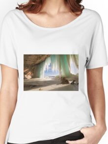 Cavern behind ice curtains on Grand Island on Lake Superior Women's Relaxed Fit T-Shirt