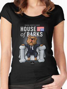 House of Barks bulldog cartoon Women's Fitted Scoop T-Shirt