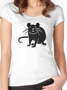 Black rat mouse Women's Fitted Scoop T-Shirt