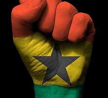 Flag of Ghana on a Raised Clenched Fist  by Jeff Bartels