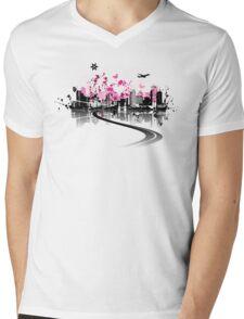 Cityscape background, urban art Mens V-Neck T-Shirt