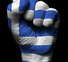 Flag of Greece on a Raised Clenched Fist  by Jeff Bartels