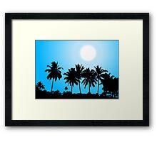 Tropical sunset, palm tree silhouette Framed Print