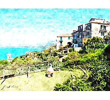 Agropoli: landscape with sea and tower Photographic Print