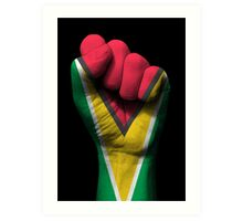 Flag of Guyana on a Raised Clenched Fist  Art Print