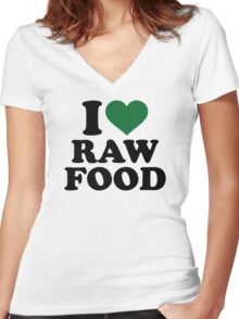 I love raw food Women's Fitted V-Neck T-Shirt