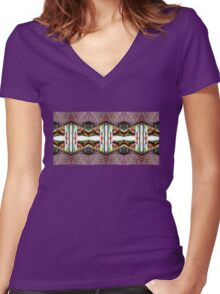 Old Town Stories Art 3 Women's Fitted V-Neck T-Shirt