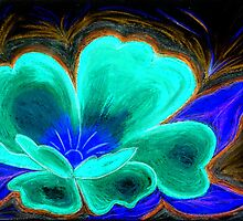Red Flower in Pastels in the Negative by Anne Gitto
