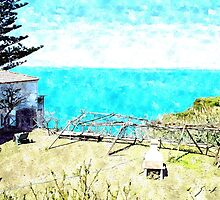 Agropoli: landscape with garden and sea by Giuseppe Cocco