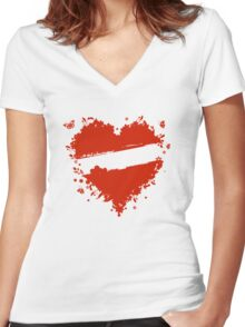 Floral heart shape Women's Fitted V-Neck T-Shirt