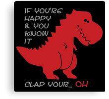 """Happy"" T-rex Canvas Print"