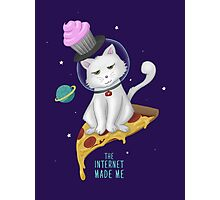 The Internet Made Me // Pizza Space Cat Photographic Print