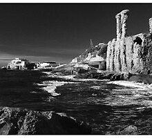 Stones stop waves, waves ruin stones by Mny-Jhee