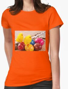 Easter eggss and yellow fluffy chickens  Womens Fitted T-Shirt