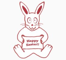 Cute Bunny Happy Easter Drawing in Red ans White Colors by DFLC Prints