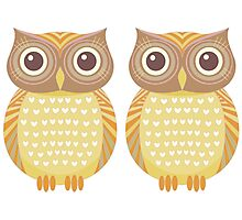 Twin Owls Photographic Print