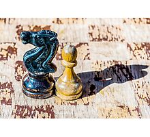 Chess Pawn and Knight - Veterans Photographic Print
