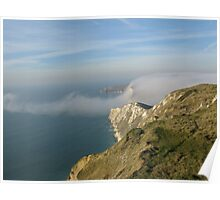 Fog rolling out to sea over Arish Mel, Dorset Poster