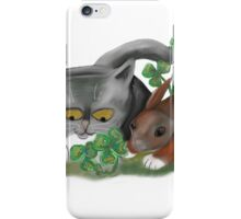 Bunny and Kitten Find Four Leaf Clover iPhone Case/Skin