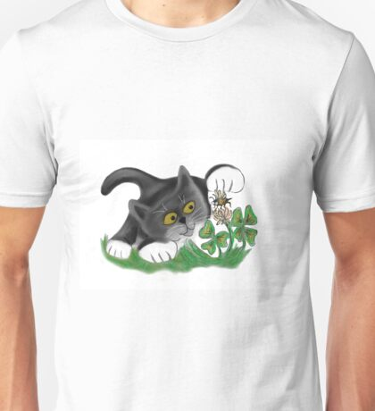 Kitten Chases a Bee over the Clover Unisex T-Shirt