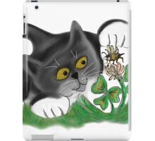 Kitten Chases a Bee over the Clover iPad Case/Skin