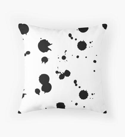 ink blots pattern black, white Throw Pillow