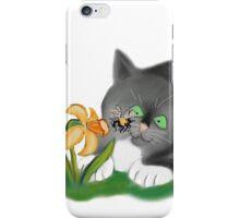 Bee, Daffodil and Grey Kitten iPhone Case/Skin