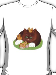 Tuxedo Kitten and Three Newly Hatched Chicks T-Shirt
