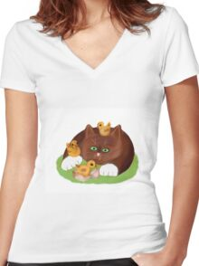 Tuxedo Kitten and Three Newly Hatched Chicks Women's Fitted V-Neck T-Shirt