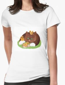 Tuxedo Kitten and Three Newly Hatched Chicks Womens Fitted T-Shirt
