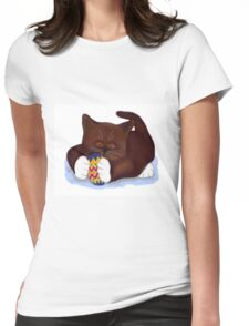 Kitten Finds an Easter Egg Womens Fitted T-Shirt