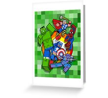 Cute Cube superheroes Group Greeting Card