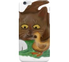 Duckling and Brown Tuxedo Kitten iPhone Case/Skin