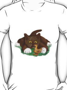 Duckling and Brown Tuxedo Kitten T-Shirt