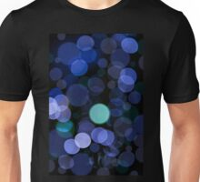 Blue bokeh circles blurry texture Unisex T-Shirt