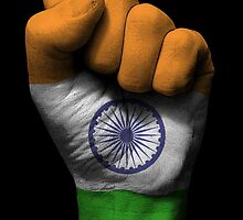 Flag of India on a Raised Clenched Fist  by Jeff Bartels