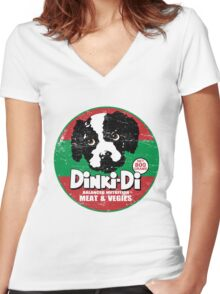 Dinki Di Dog Food Women's Fitted V-Neck T-Shirt