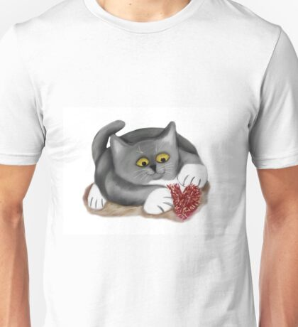 Kitten Plays with a Fluffy Heart Toy Unisex T-Shirt