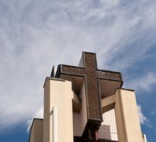 High church turret cross Sticker