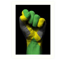 Flag of Jamaica on a Raised Clenched Fist  Art Print